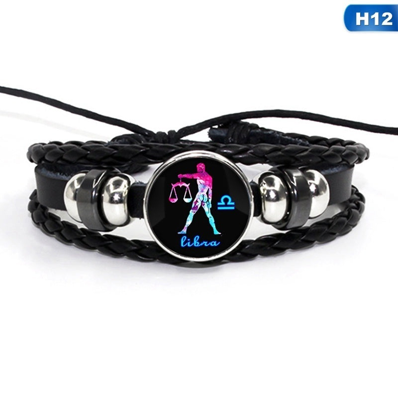 12 Constellation Bracelet Zodiac Sign Multilayer Woven Leather Bracelets & Bangles Cancer Leo Virgo Libra Glass Dome Jewelry Gifts