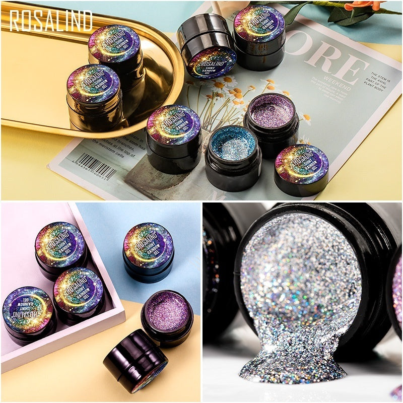 ROSALIND UV Nail Gel Polish Neon Rainbow Hybrid Varnish Platinum 5ML Gel Paint Set