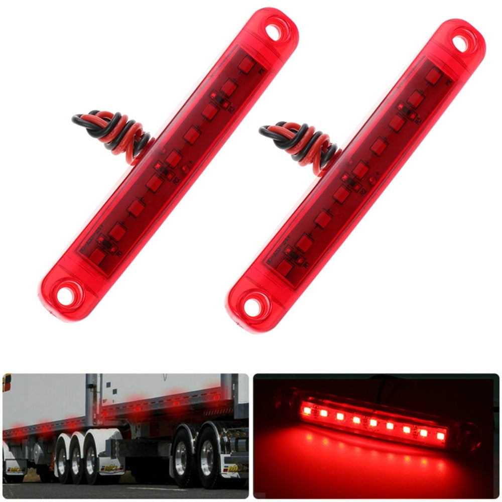 2PCS New 9Led Red  Lorry 24V Marker Indicator Lamp Truck Side Light Warning