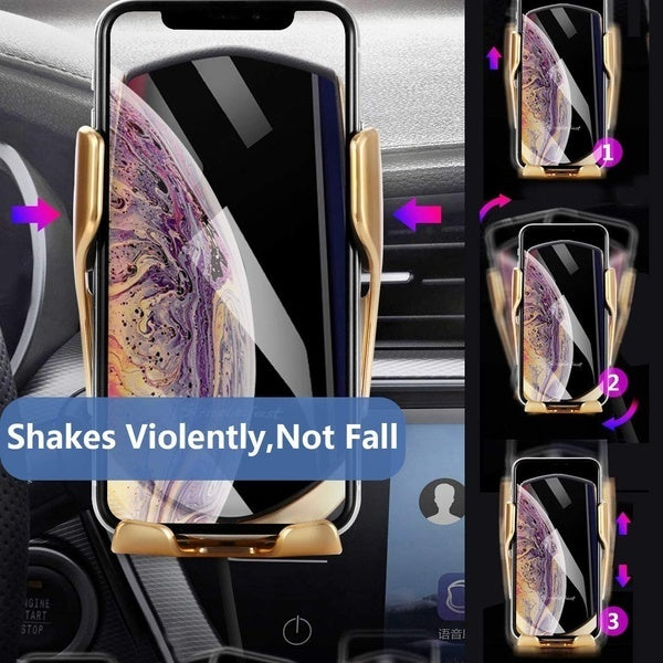 Wireless Car Charger,IR Intelligent Automatic Clamping Car Charger Mount,10W Wireless Charger Compatible for iPhone Xs/Max/XR/8/8 Plus/Galaxy S9/S9+/S8/S8+/Note9/S7 (Gold,Silver)