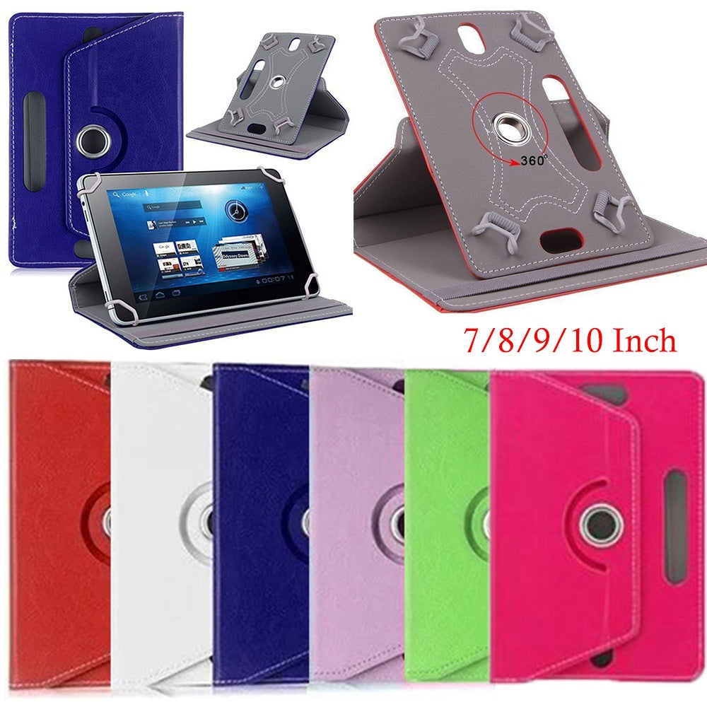 1pc 360 Degree Rotating Universal Tablet Case 7 8 9 10.1 inch High Quality Crystal Pattern Shockproof Cover Protective Shell  PU Leather