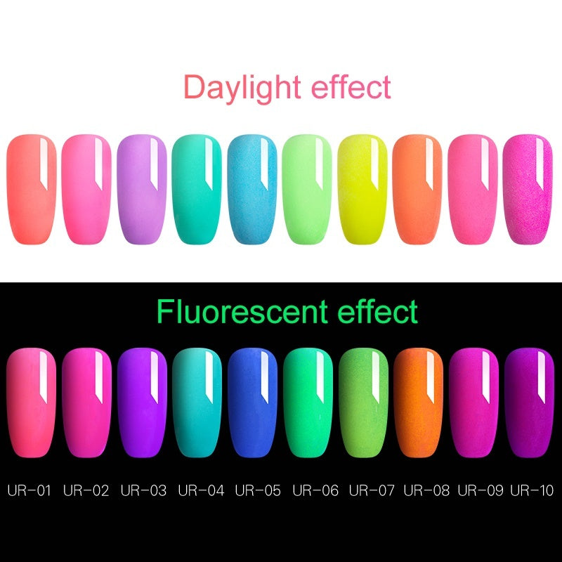 UR SUGAR Fluorescence Dipping Nail Powder Dust Fluorescent Effect Nail Powder Natural Dry No Lamp Needed