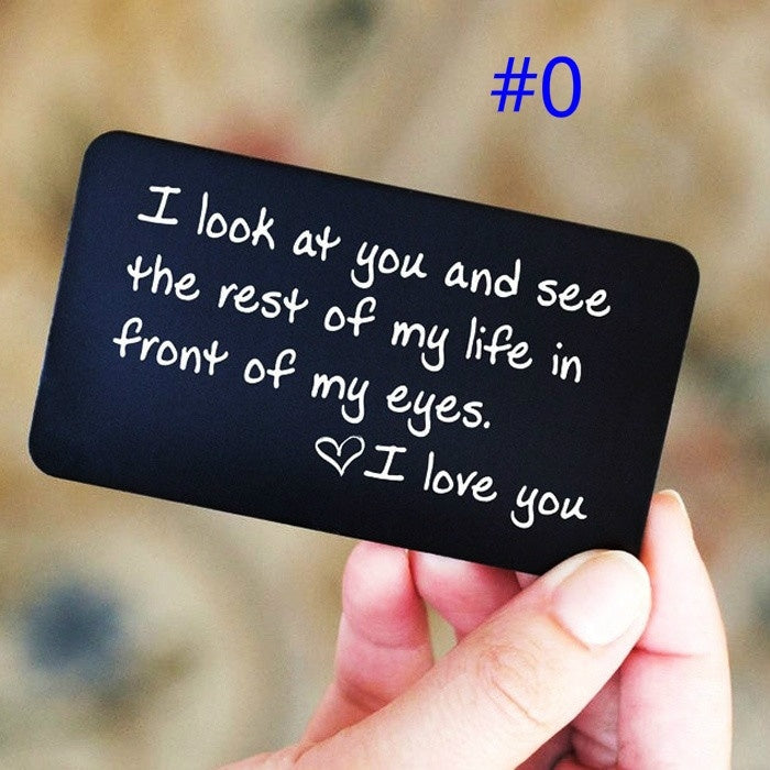 1PCS Engraved Wallet Card Love Note Metal Insert for Husband Boyfriend Families I Love You Wallet Creidt Card