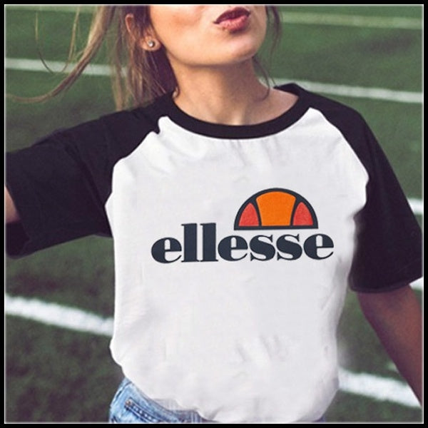 2019 Women's Fashion Ellesse Print Short Sleeve Black White T-shirt Women Tees Shirt Tops