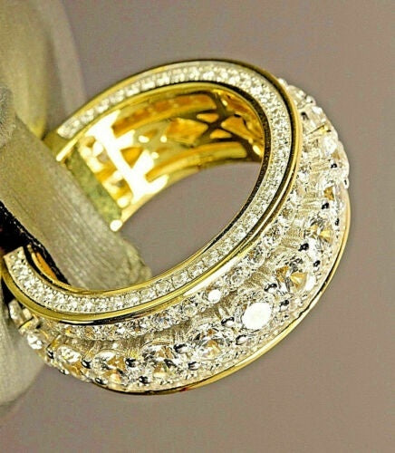 14K Yellow Gold 2.0 CT Round Cut Diamond Ring Anniversary Gift Engagement Bridal Wedding Rings Jewelry For Men And Women Size 5-11