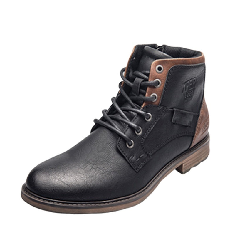 Autumn Winter Fashion Men Bullock Rubber Leather Short Boots Vintage Style Casual Men Lace Up Ankle Boots Warm Plush Waterproof Motorcycle Boots Plus Size 38-48