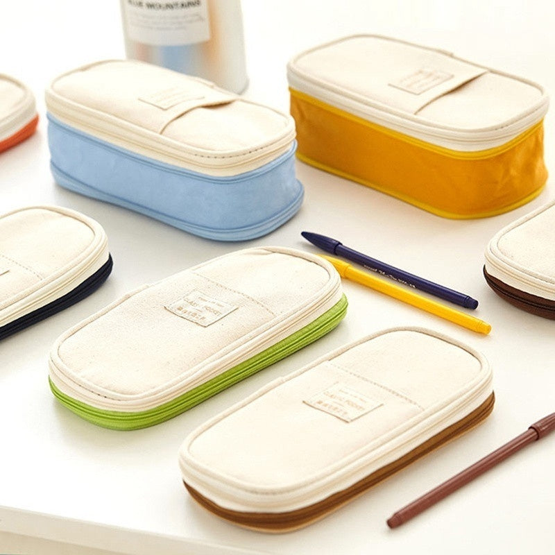Double-layer Big Capacity Pencil Case Multifunctional Cosmetic Bag Travel Storage Bag Office School Supplies