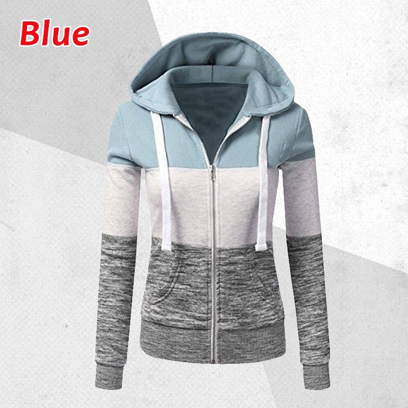Women Spring/Autumn Casual Long Sleeve Sweatshirts Colorful Patchwork Thin Zip-Up Hoodie Jacket for Drawstring Hoodies S-5XL