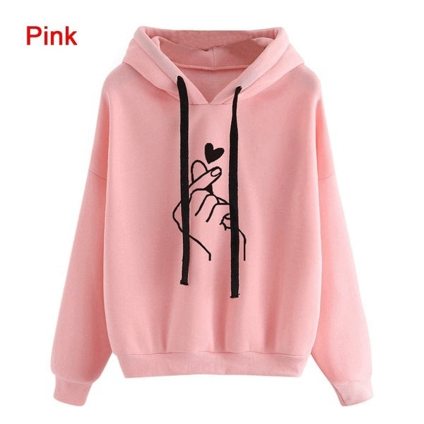 New Fashion Women's Hooded Sweater Casual Printed Finger Heart Long Sleeve Solid Color Loose Tops Hoodies Coat