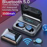 2020 Newest Mini Earbuds 8D HiFi CVC8.0 Noise Cancelling Bluetooth 5.0 Earphones TWS Sport Waterproof Headphones Deep Bass Sound Cordless Bank Dual Headsets with Power Bank Chaging Case 500mAh/1500mAh/2500mAh/3500mAh