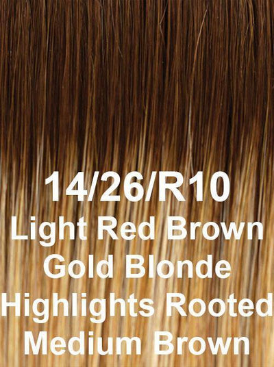 14/26/10 | Light Red Brown Gold Blonde Highlights Rooted Medium Brown