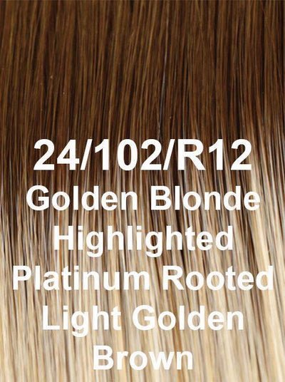 24/102/R12 | Golden Blonde Highlighted Platinum Rooted Light Golden Brown
