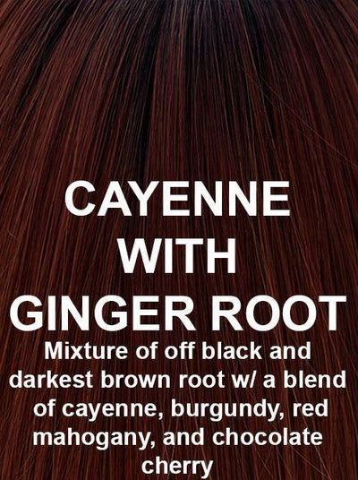CAYENNE WITH GINGER ROOT | Mixture of off black and darkest brown root with a blend of cayenne, burgundy, red mahogany, and chocolate cherry