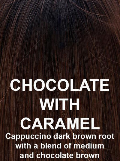 CHOCOLATE WITH CARAMEL | Cappuccino dark brown root with a blend of medium and chocolate brown
