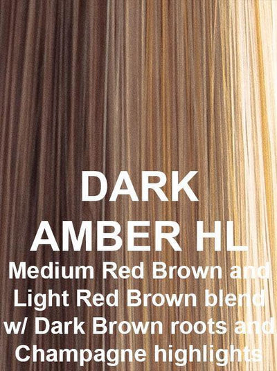 DARK AMBER HL | Dark Brown Roots on Medium Reddish Brown Base with Light Reddish Brown and Pale Champagne highlights