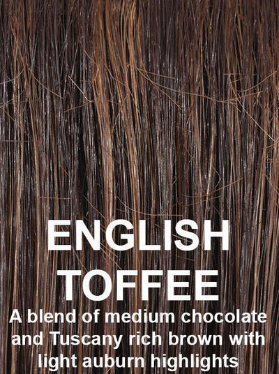 ENGLISH TOFFEE | A blend of medium chocolate and Tuscany rich brown with light auburn highlights