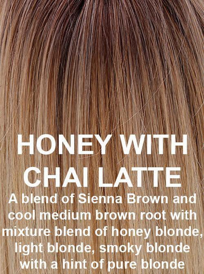 HONEY WITH CHAI LATTE | A blend of Sienna Brown and cool medium brown root with mixture blend of honey blonde, light blonde, smoky blonde with a hint of pure blonde