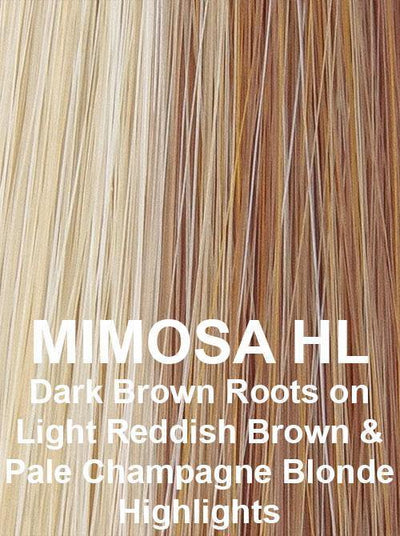 MIMOSA HL | Dark Brown Roots on Light Reddish Brown with Pale Champagne Blonde highlights
