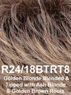 R24/18BTRT8 | Golden Blonde Blended & Tipped with Ash Blonde & Golden Brown Roots