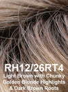 RH12/26RT4 | Light Brown with Chunky Golden Blonde Highlights & Dark Brown Roots