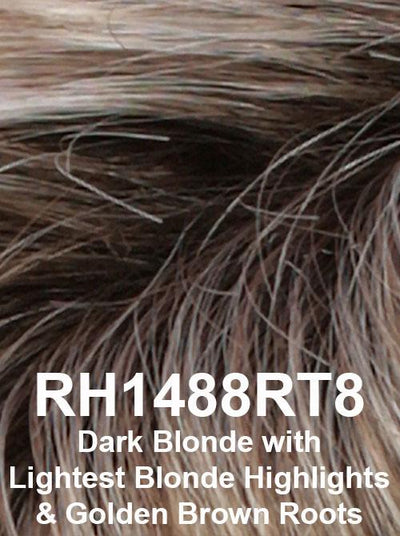 RH1488RT8 | Dark Blonde with Lightest Blonde Highlights & Golden Brown Roots