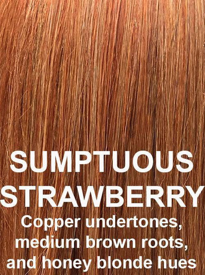 SUMPTUOUS STRAWBERRY | Copper undertones, medium brown roots, and honey blonde hues