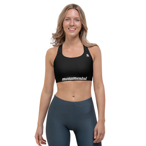Black Sports Bra With Racerback - White Edition