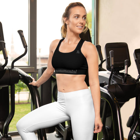 Black Sports Bra With Racerback - Grey Edition