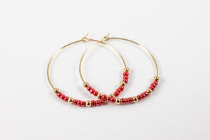 Beaded Wire Hoop Earrings (Black or Red)