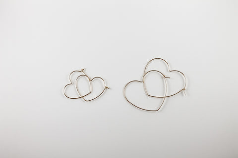 Heart Hoop Earrings (Two Sizes)