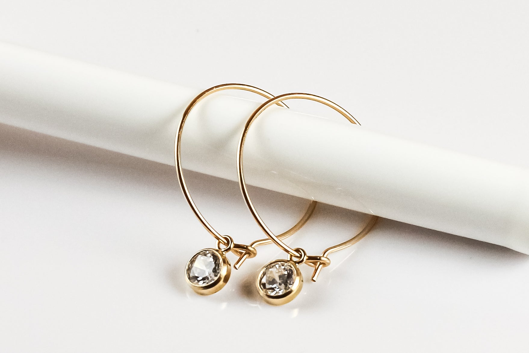 Dainty CZ Hoop Earrings (Two Color Options)