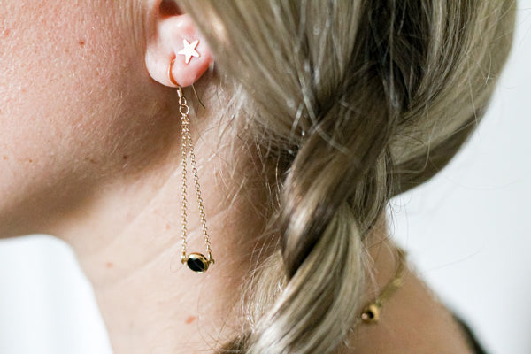 Dainty Black CZ Chain Earrings