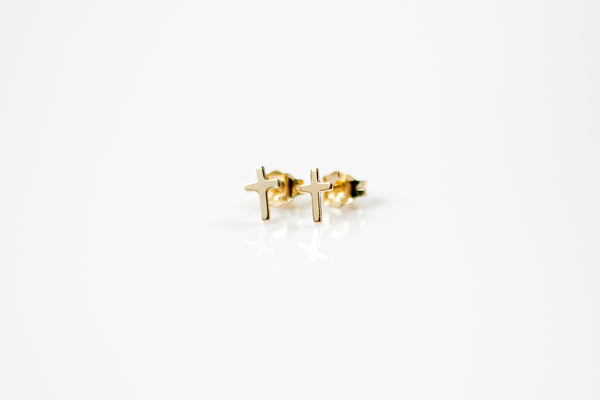 Tiny Cross Stud Earrings