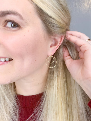 Two Stacked Circle Earrings
