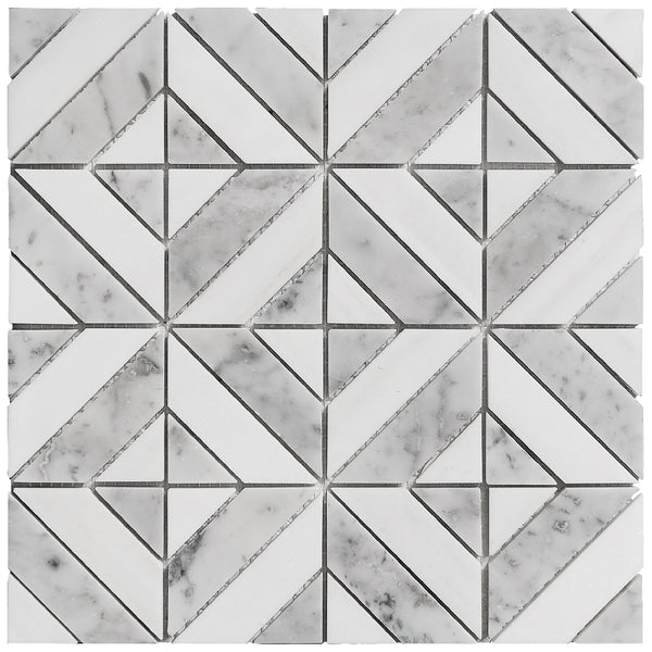Florence Luxe mosaic tile sheet product image showing the white and grey polished marble geo pattern