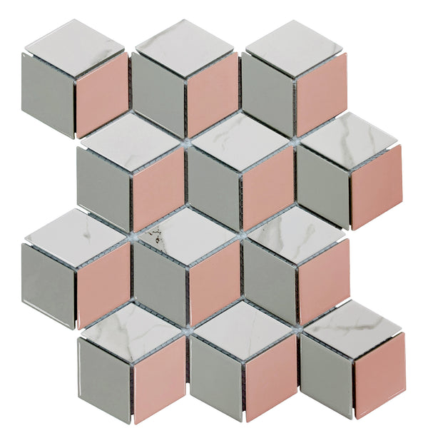 Hexia Blush mosaic tile sheet in pink, grey and white marble in hex shape