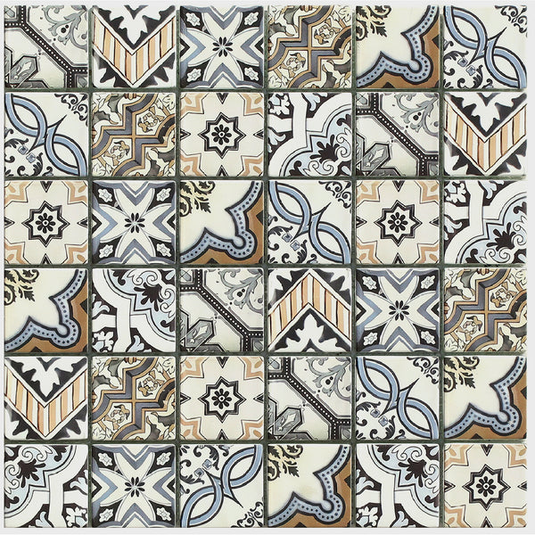 Lisbon mosaic tile with brown, blue, and cream tones in a geometric, Portuguese style pattern