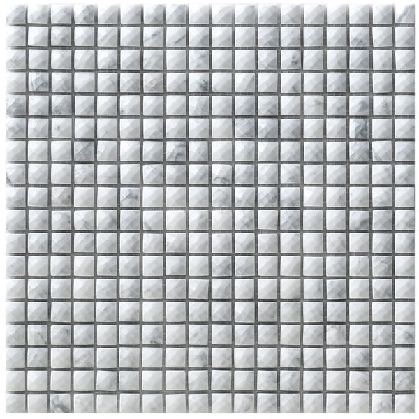 Milan White mosaic tile sheet showing the smaller diamante effect polished marble