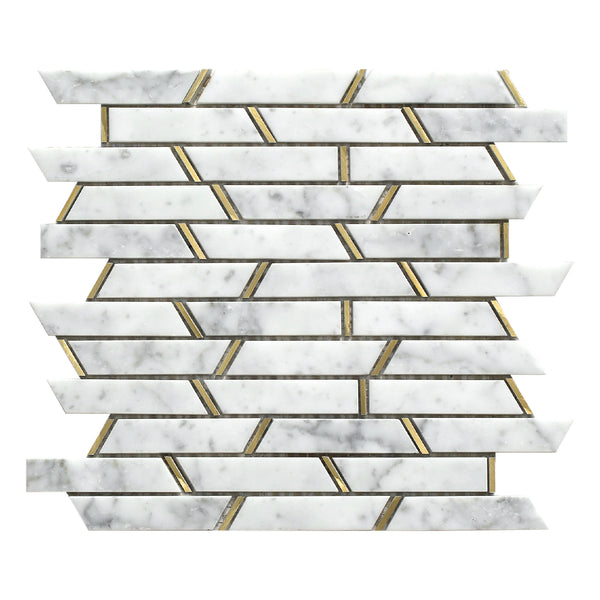 Monte Carlo White Luxe mosaic tile sheet showing the marble effect mosaic pieces with gold brass