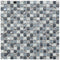 Monocrackle mosaic tile product image showing the mix of crackle effect glass, gunmetal diamante pieces in grey tones