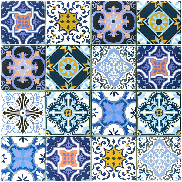 Porto Mosaic has a blue, white, pink and yellow Moroccan inspired pattern in a 4 x 4 square format