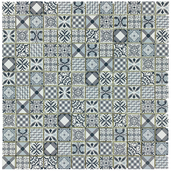 3D Sprio Self-Adhesive mosaic with an on-trend monochrome, moroccan design and encaustic matt finish