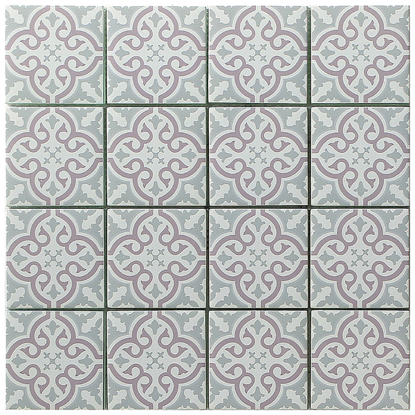 Vintage Blush mosaic tile 4 x 4 format with pink and grey floral pattern