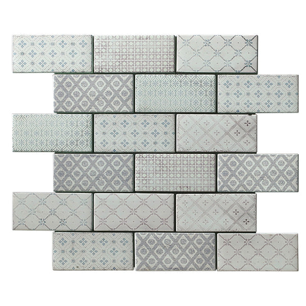 Vintage Pretty mosaic tile product image showing the grey and light pink pattern