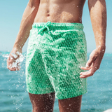 PLAID COLOR CHANGING SWIM TRUNKS