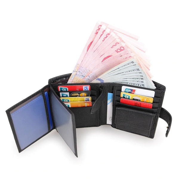 Vintage Short Wallet Genuine Leather Clutch Wallets Purses First Layer Real Leather Multi-Card Bit Retro Card Holder