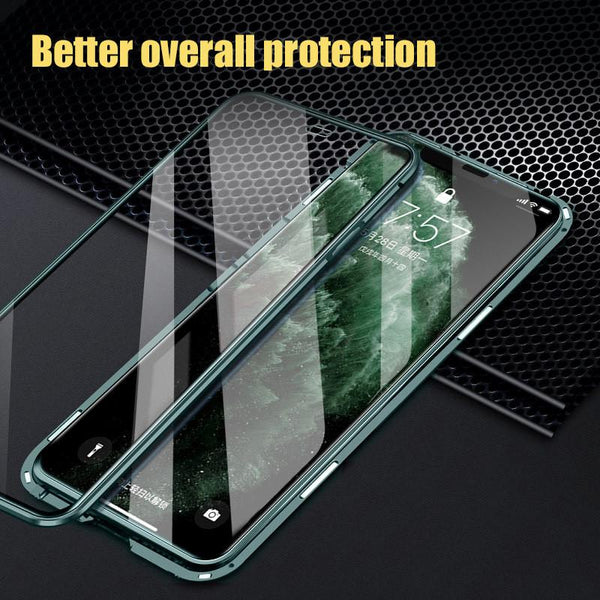 360 Magnetic Metal Phone Case For iPhone 11 Pro Max Double Side Glass For iPhone X XR XS MAX 7 9H Tempered Glass Cover Case
