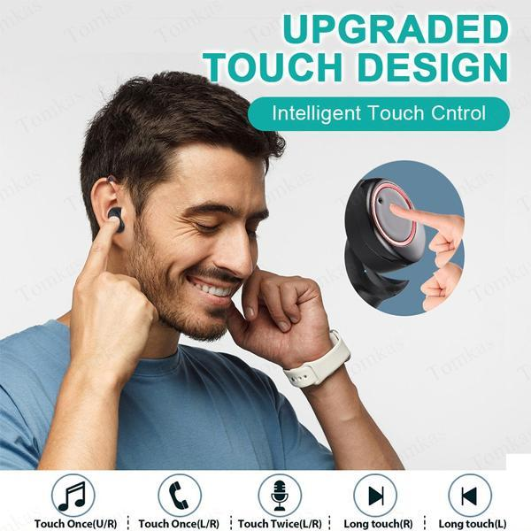 6D Stereo Earphones Wireless Earphones Headset Waterproof Earplugs 3300mAh LED Power Display Smart HD Bass Audio Mini Ear bluetooth Headset Earplugs(ios & Android universal)