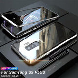 For SAMSUNG S9/S9 PLUS ANTI-KNOCK METAL MAGNETIC FRAME 9H TRANSPARENT Glass Protective Case