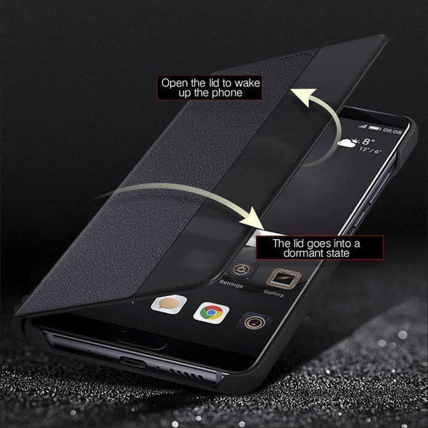 Smart View Windows Full Protection Luxury Leather Hard PC Flip Phone Case Cover For Huawei mate 20 pro